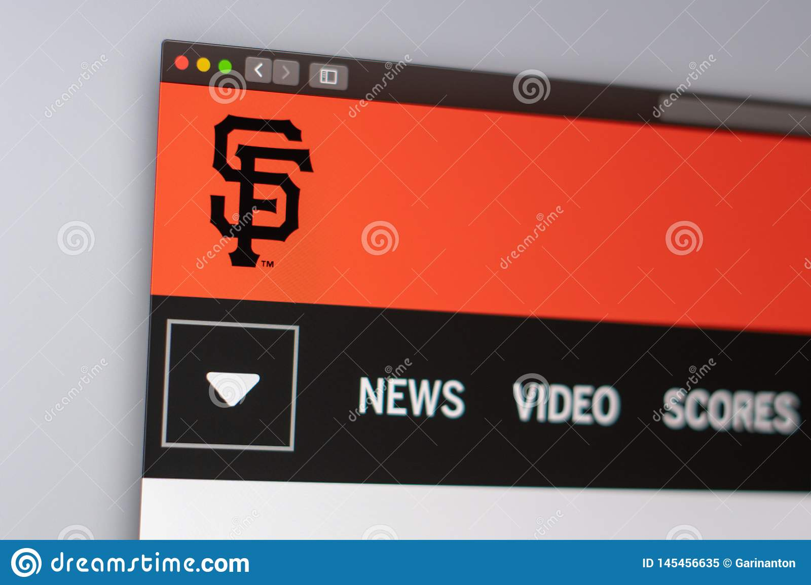 Baseball team San Francisco Giants website homepage. Close up of team logo.