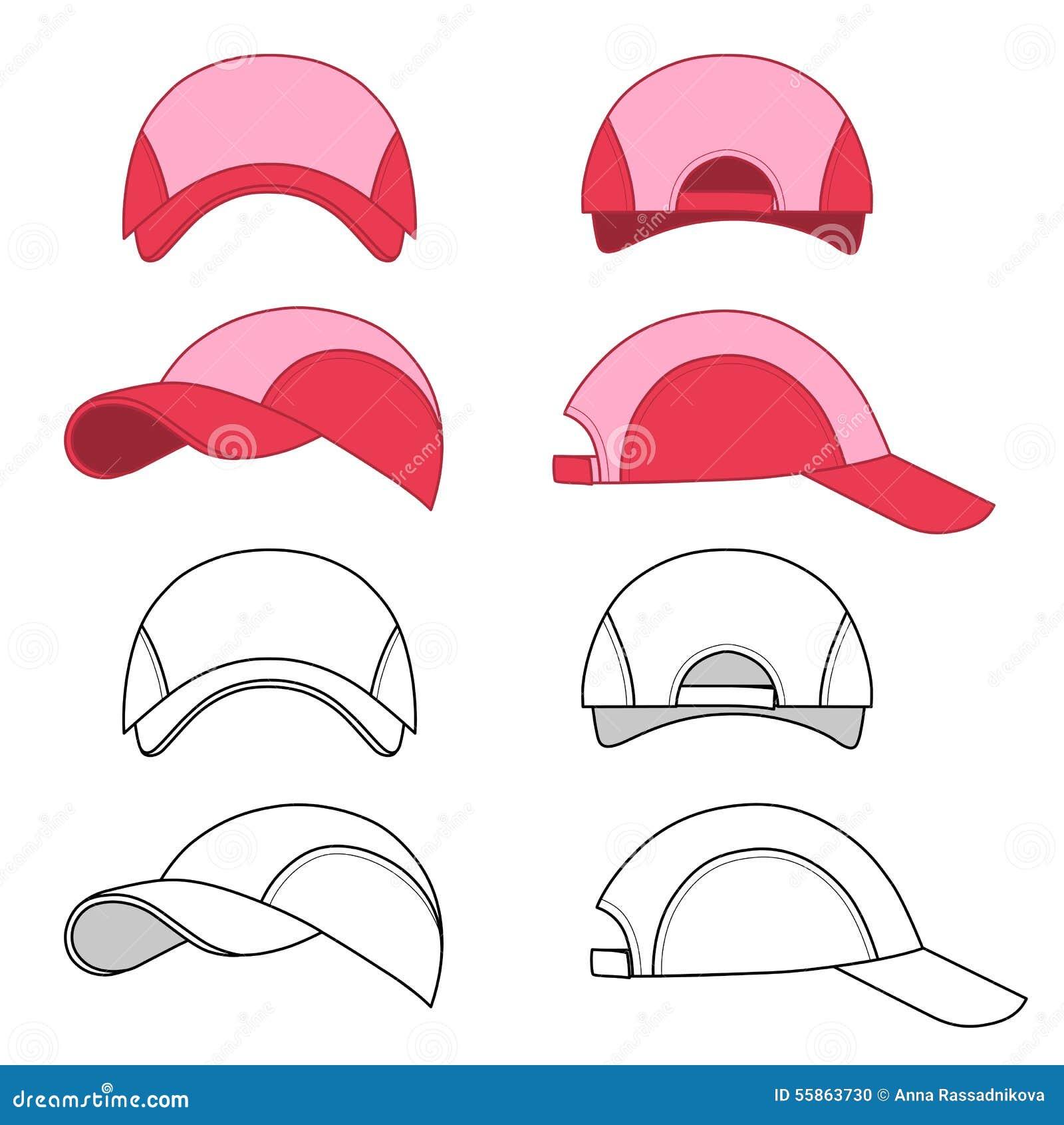 baseball tennis cap outlined template stock vector image 55863730. Black Bedroom Furniture Sets. Home Design Ideas