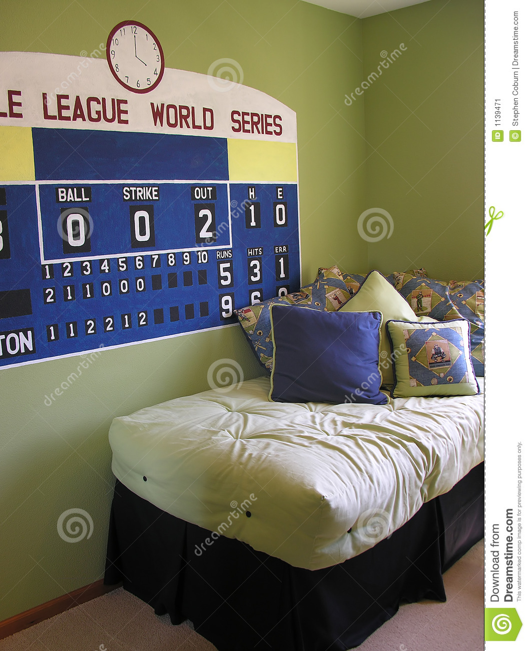 Baseball Themed Bedroom With A Scoreboard On The Wall