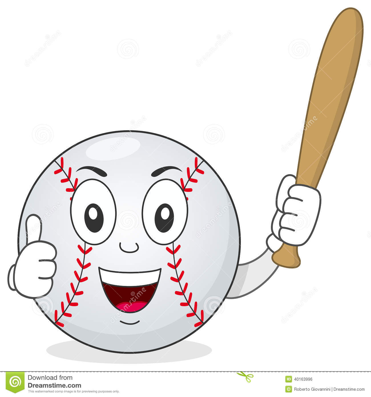 funny cartoon baseball character with thumbs up and holding a bat ...