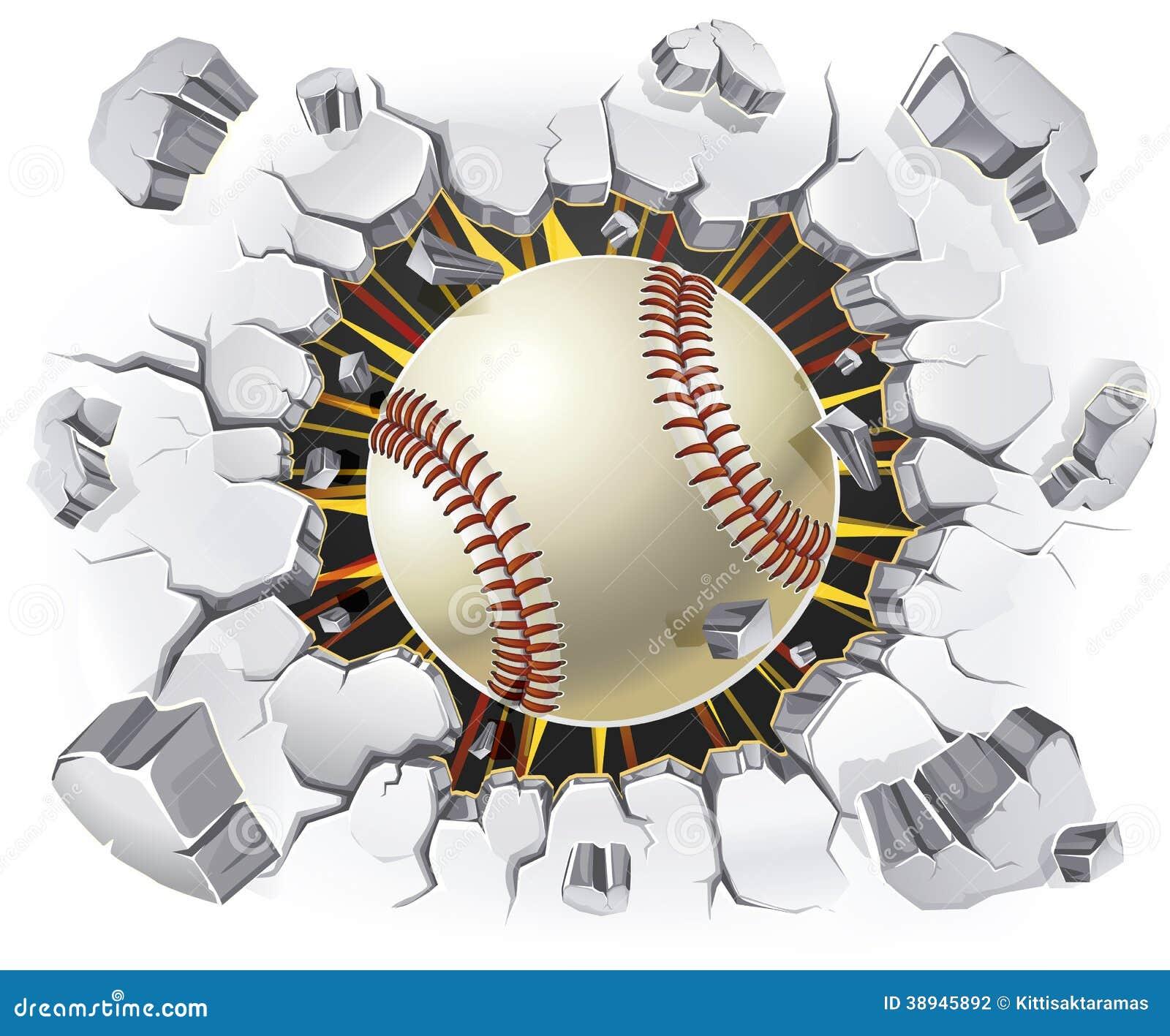 Baseball und alter Gipswandschaden.