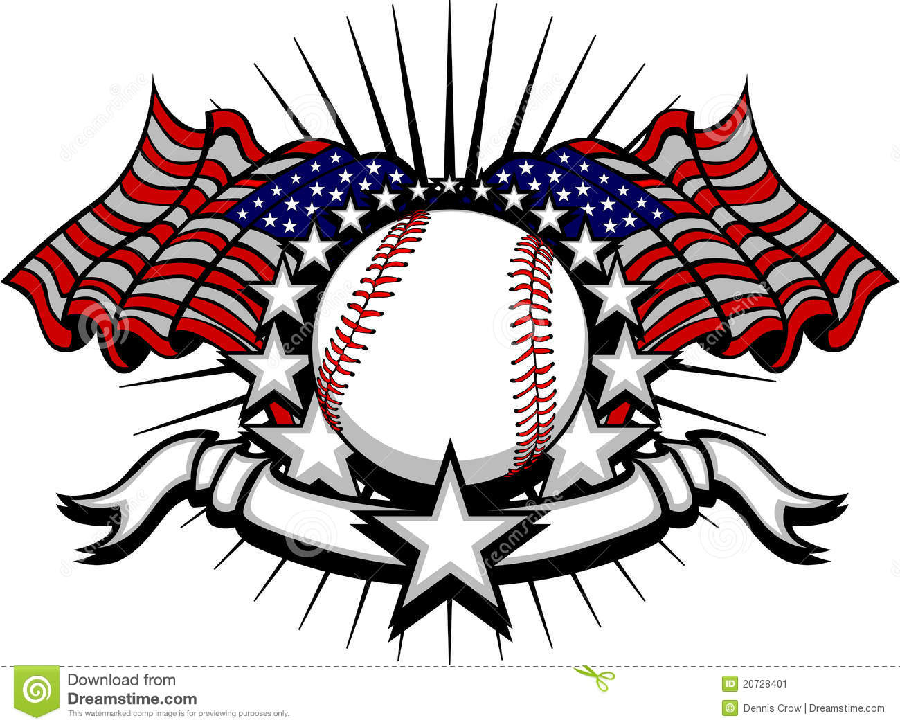 Baseball Vector Template with Flags and Stars