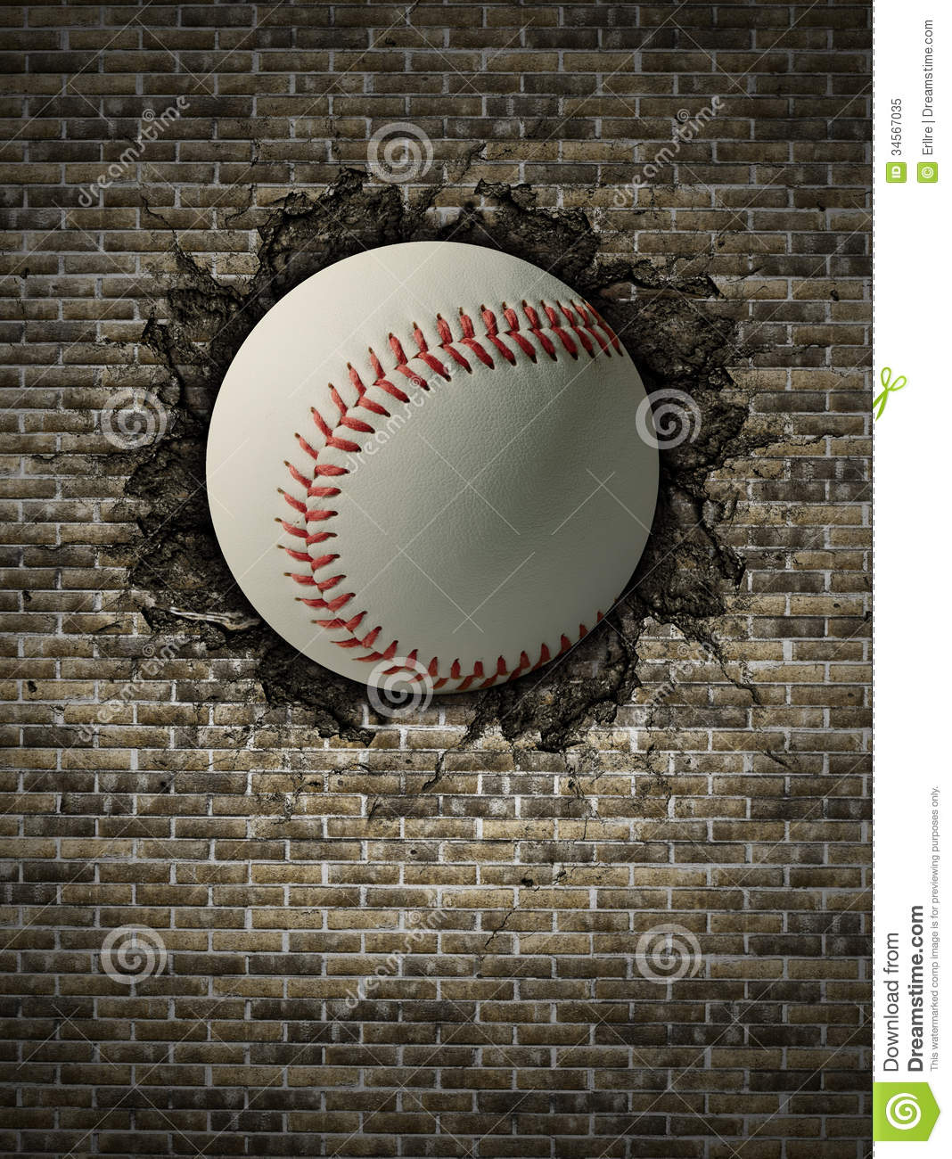 Baseball on wall stock image Image of sport, activity