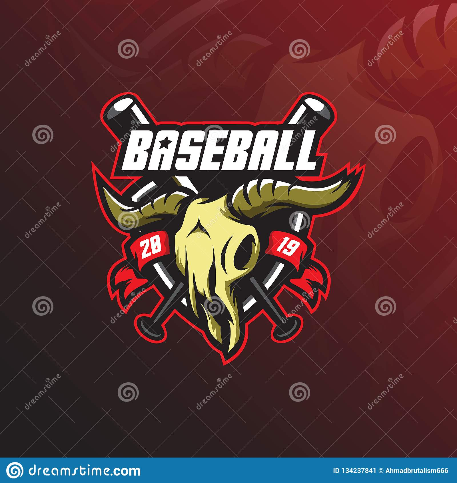 Baseballa logo maskotki projekta wektor z nowożytnym ilustracyjnym pojęcie stylem dla odznaki, emblemata i tshirt druku, baseball