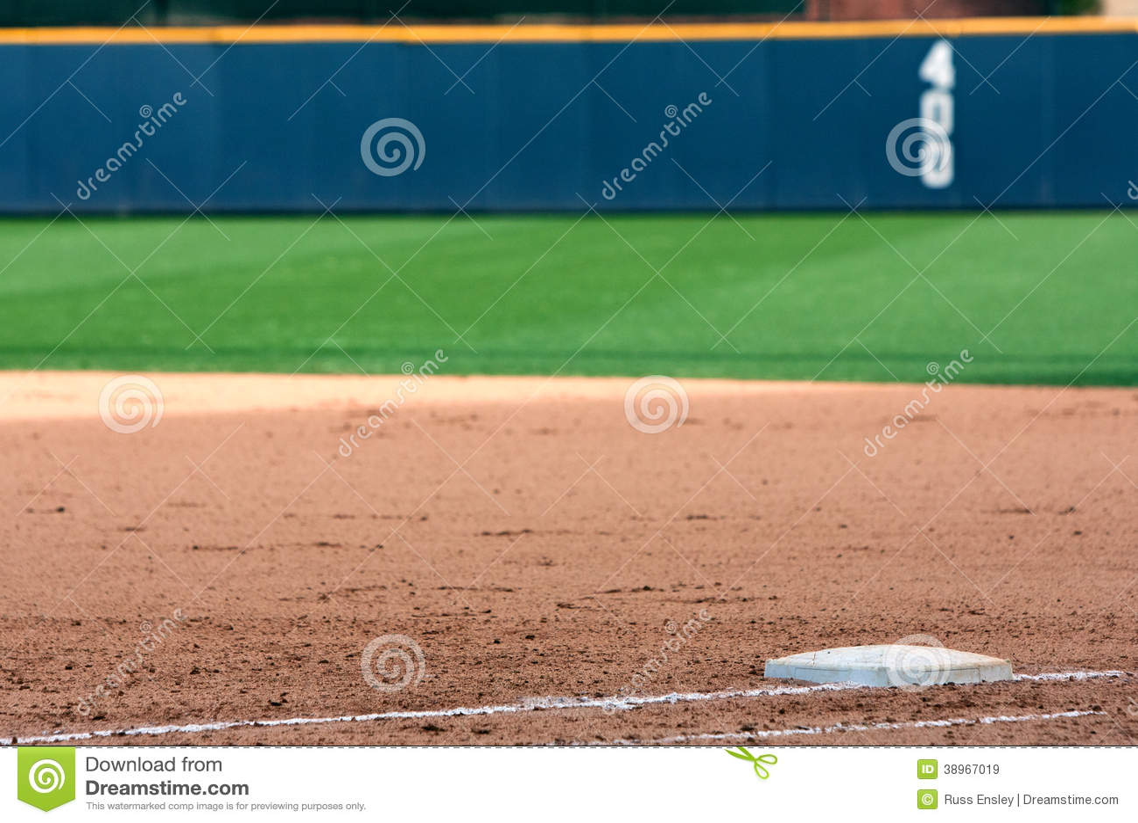 Baseballa pola przedstawień pierwsza baza I pole zewnętrzn ściana