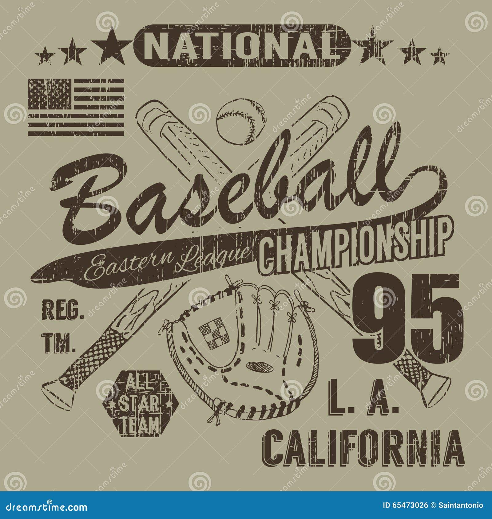 Baseballa sporta typografia, Wschodni liga los Angeles, nakreślenie krzyżować baseballa batsand koszulki druku projekta rękawiczk