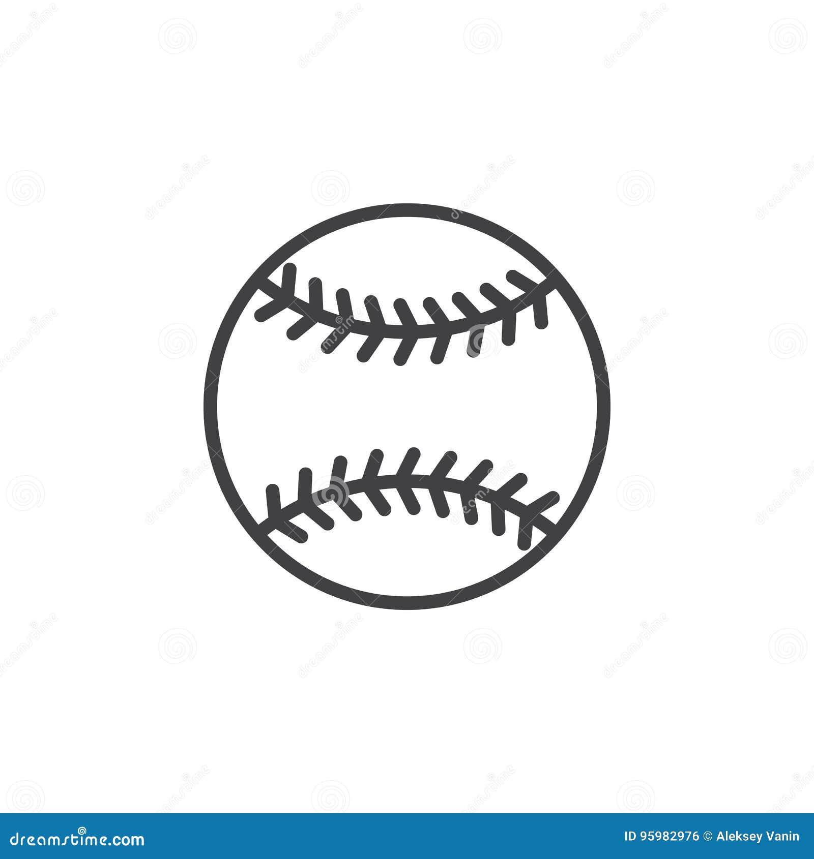 Baseballbolllinje symbol, översiktsvektortecken, linjär stilpictogram som isoleras på vit