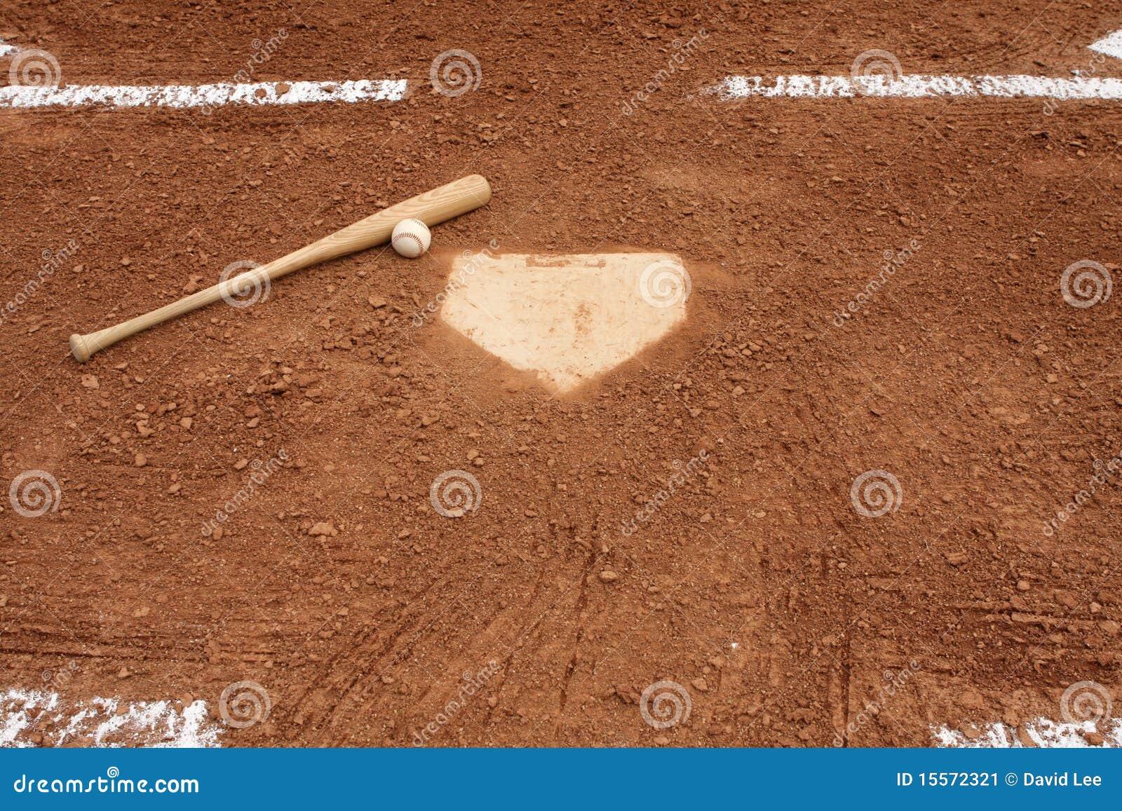 Baseballslagträutgångspunkt nära plattan