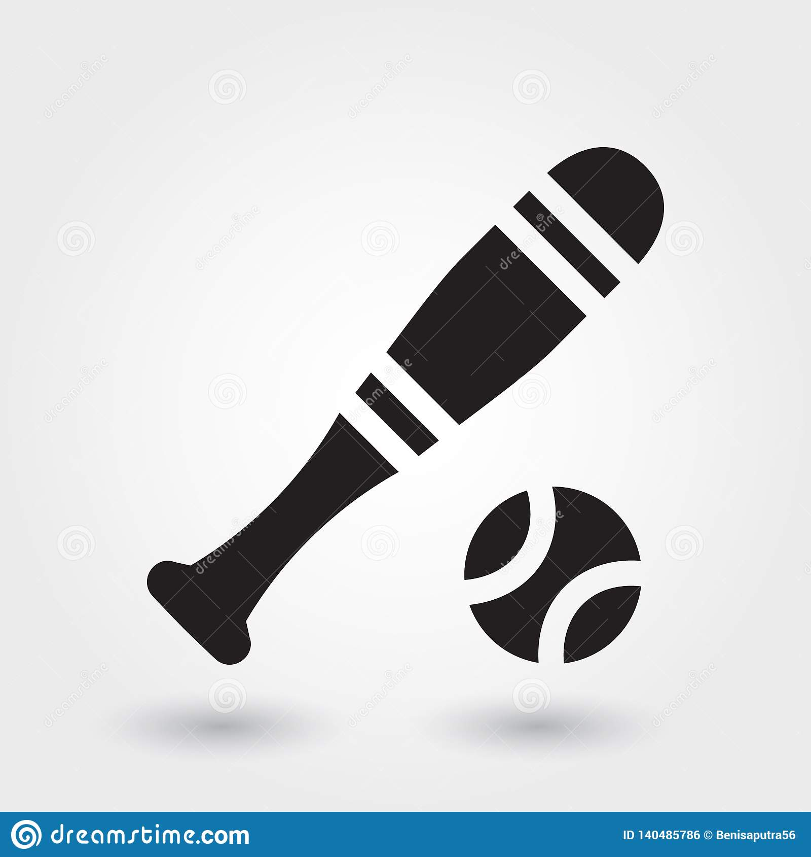 Baseballsport-Vektorikone, Baseballstockikone, Sportsymbol Moderner, einfacher Glyph