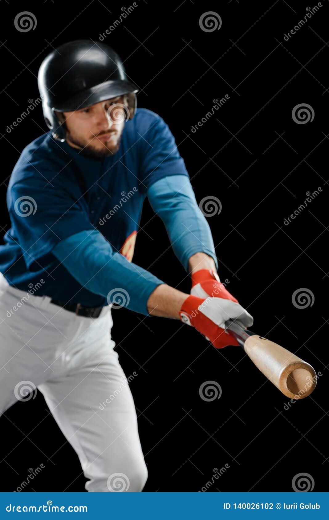 Basebollspelare som slår en boll