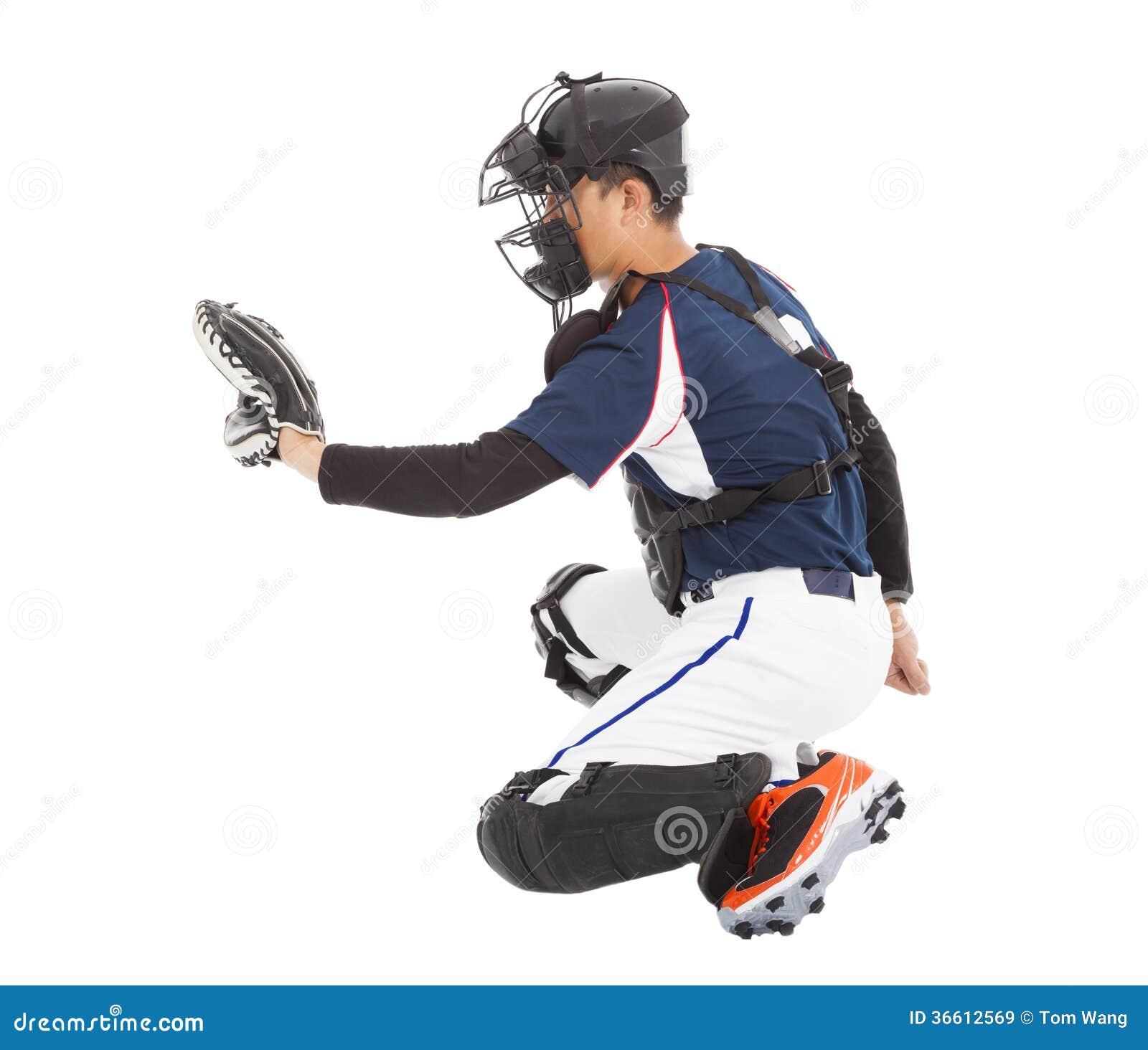 Basebollspelare stoppare, knäfallagest till att fånga
