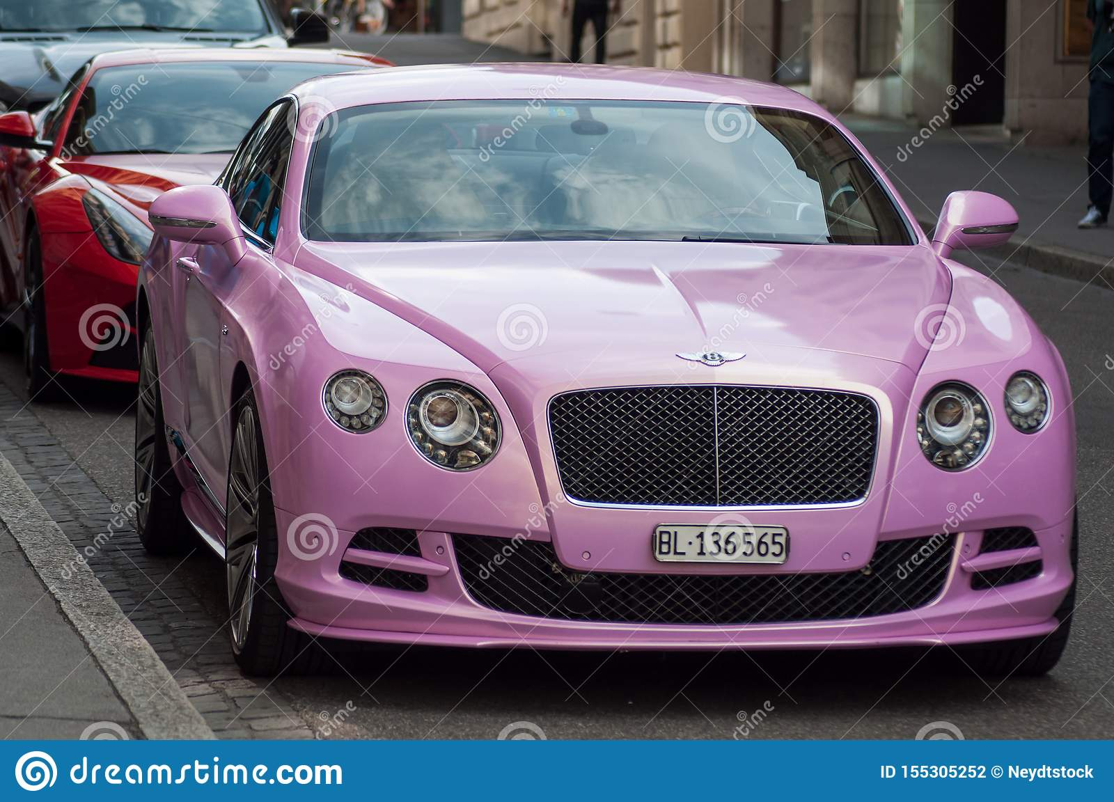 Closeup Of Pink Bentley Front Parked In The Street Editorial Photography Image Of Automobile Expensive 155305252