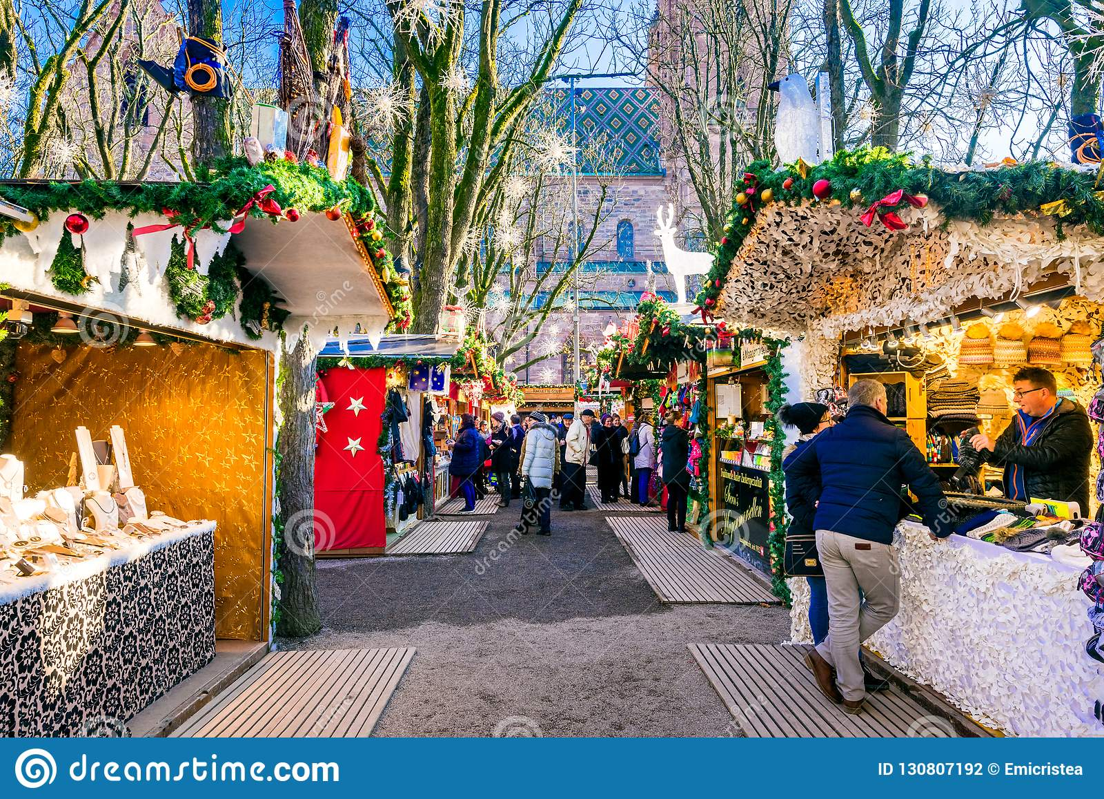 Basel Christmas Market.Basel Switzerland Christmas Market Editorial Photography