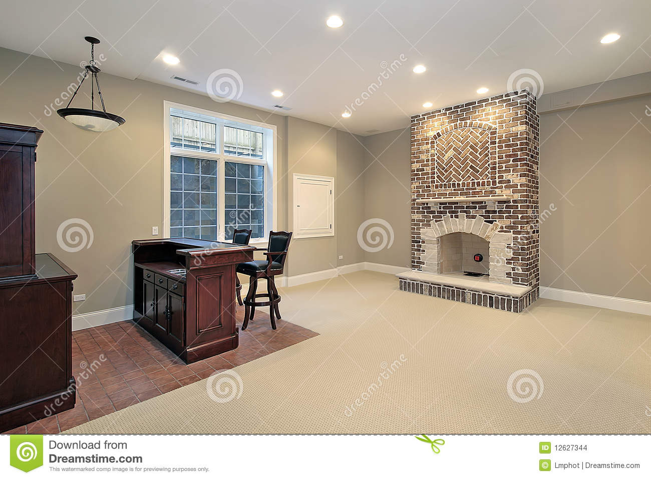 Basement With Brick Fireplace Stock Photo Image Of