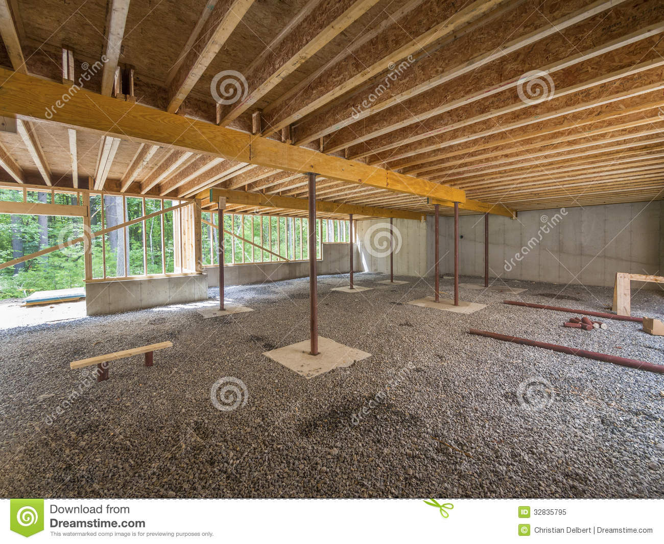 Basement construction under a new house stock image for Building a basement foundation