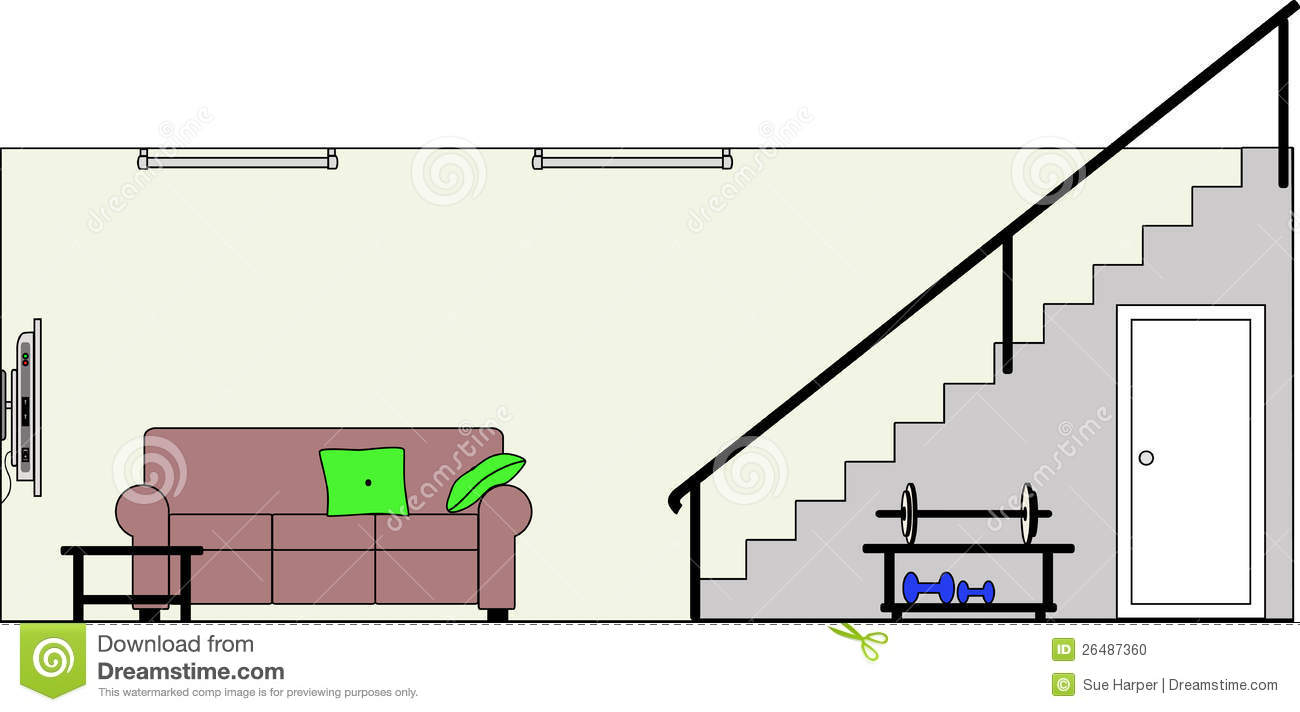 Basement with furniture stock vector illustration of for Basement 3