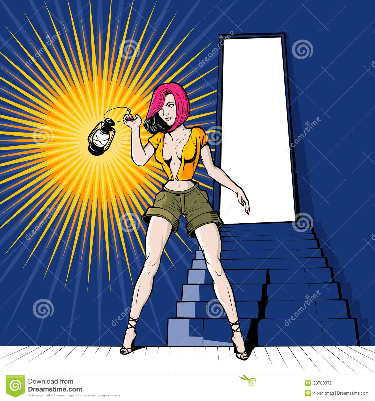 basement girl with the lantern stock photography image 23700372