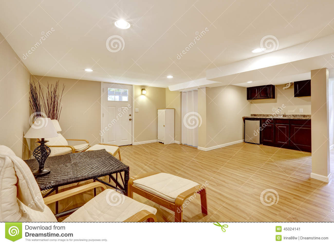 Basement Mother in law Apartment Living Room And Kitchen Area Stock Image