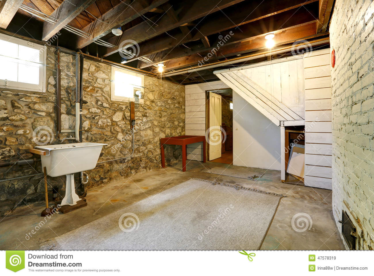Basement Room With Stone Trim Walls Stock Photo Image
