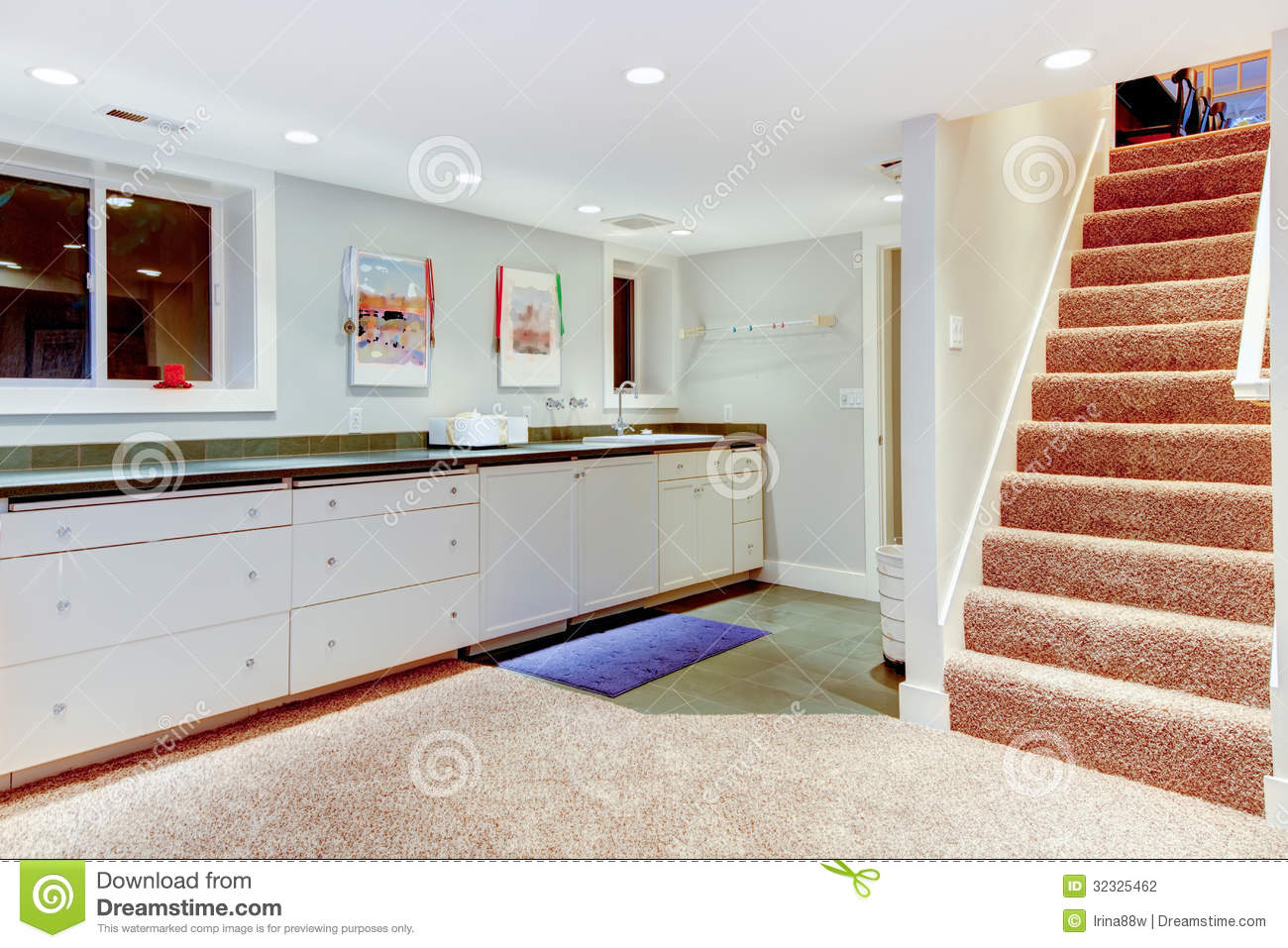 Photography: Basement with staircase, white cabinets for storage | 1300 x 957 · 185 kB · jpeg