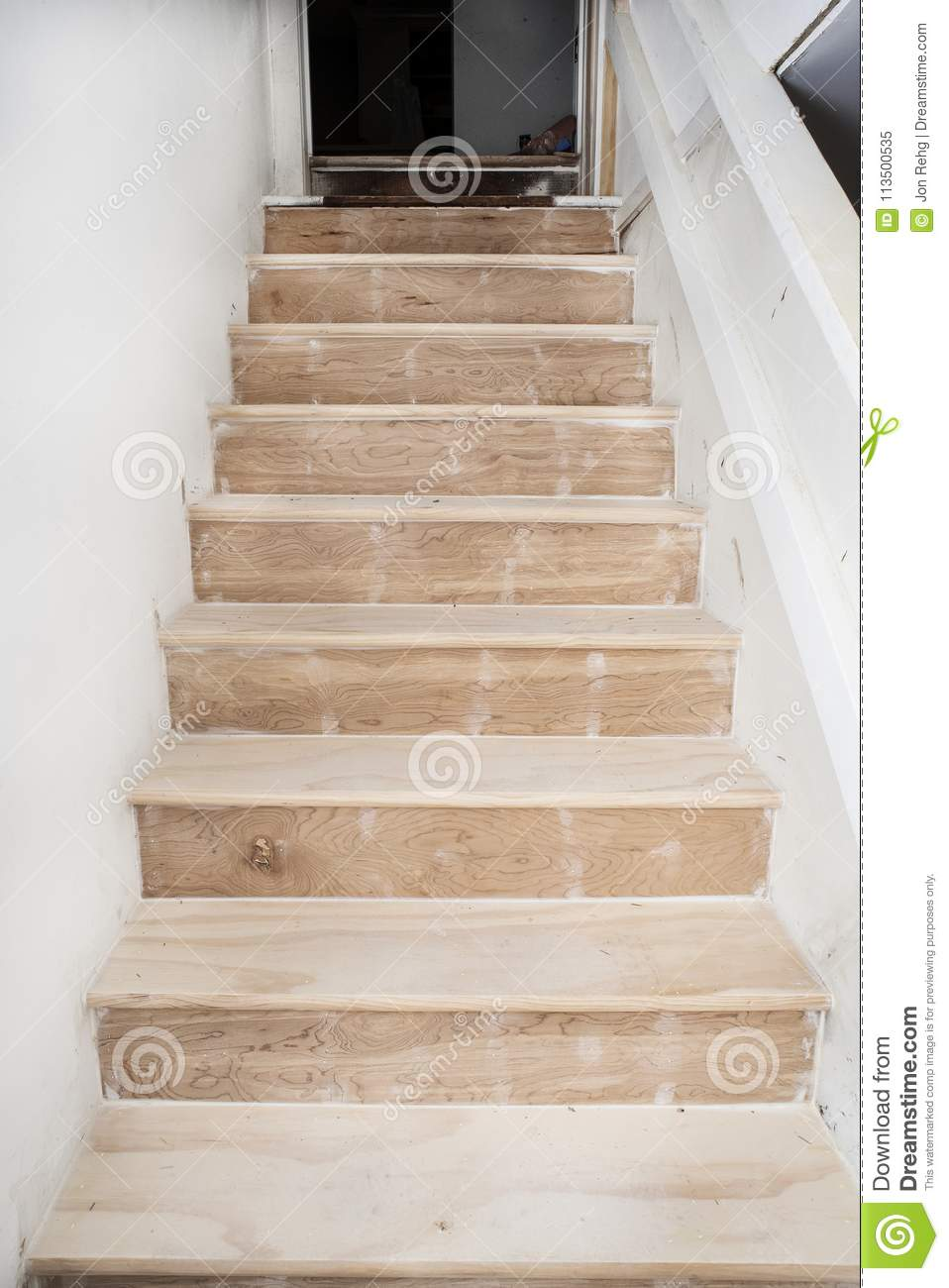 Basement Stairs Going Up Unfinished Pine Bare Wood Treads