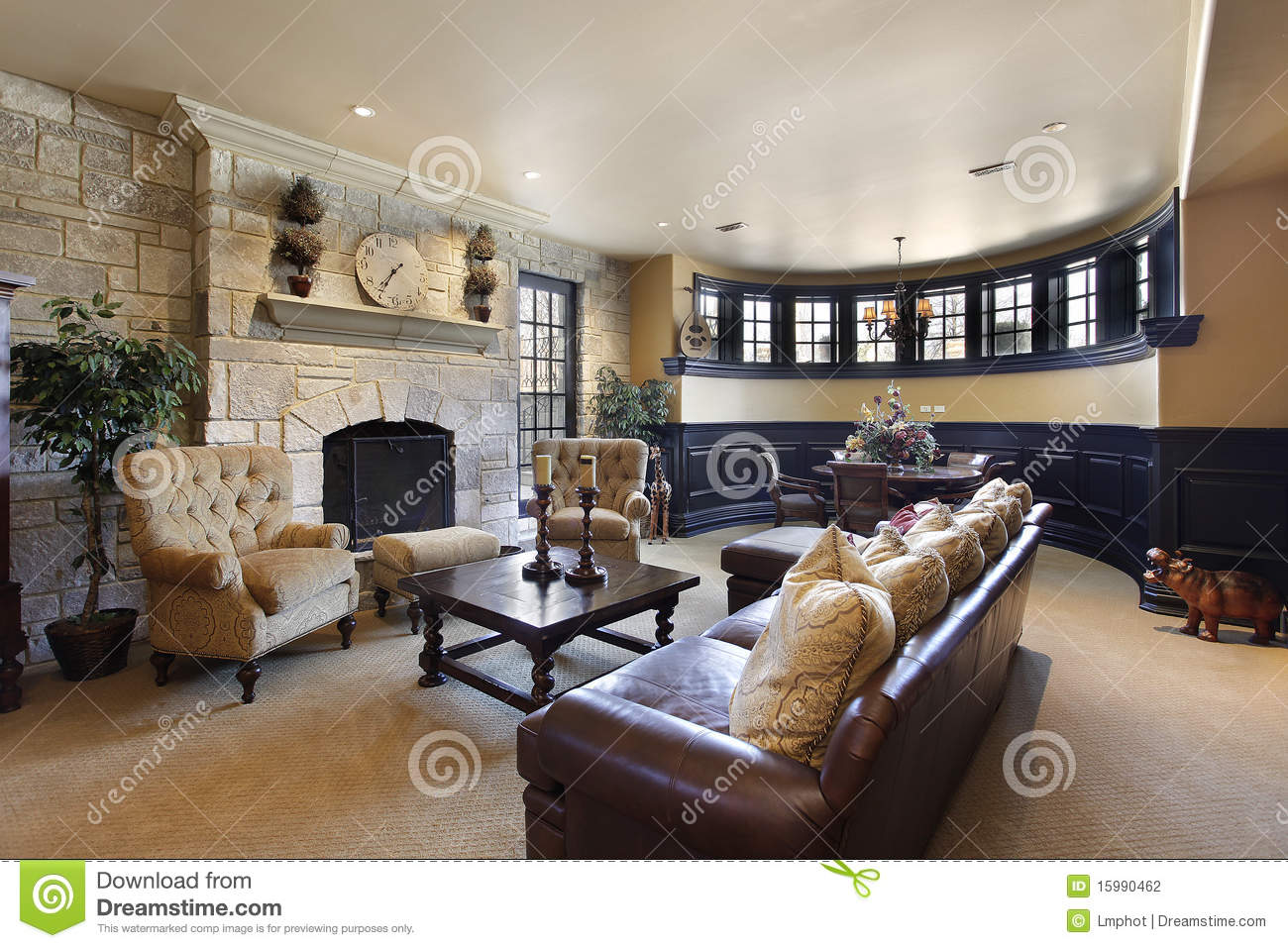 basement with stone fireplace stock photography image 15990462