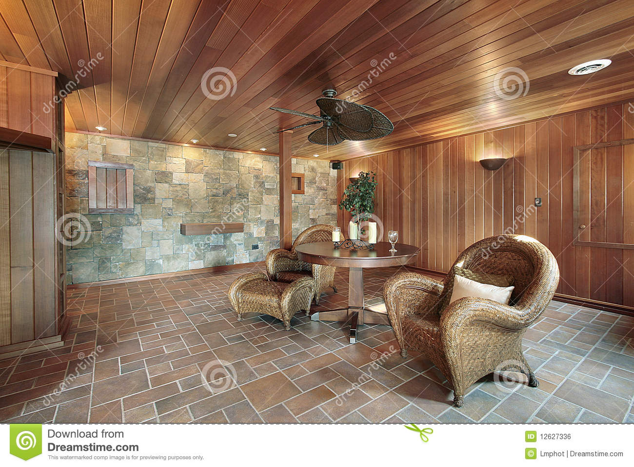 Basement With Stone And Wood Walls Stock Photo Image
