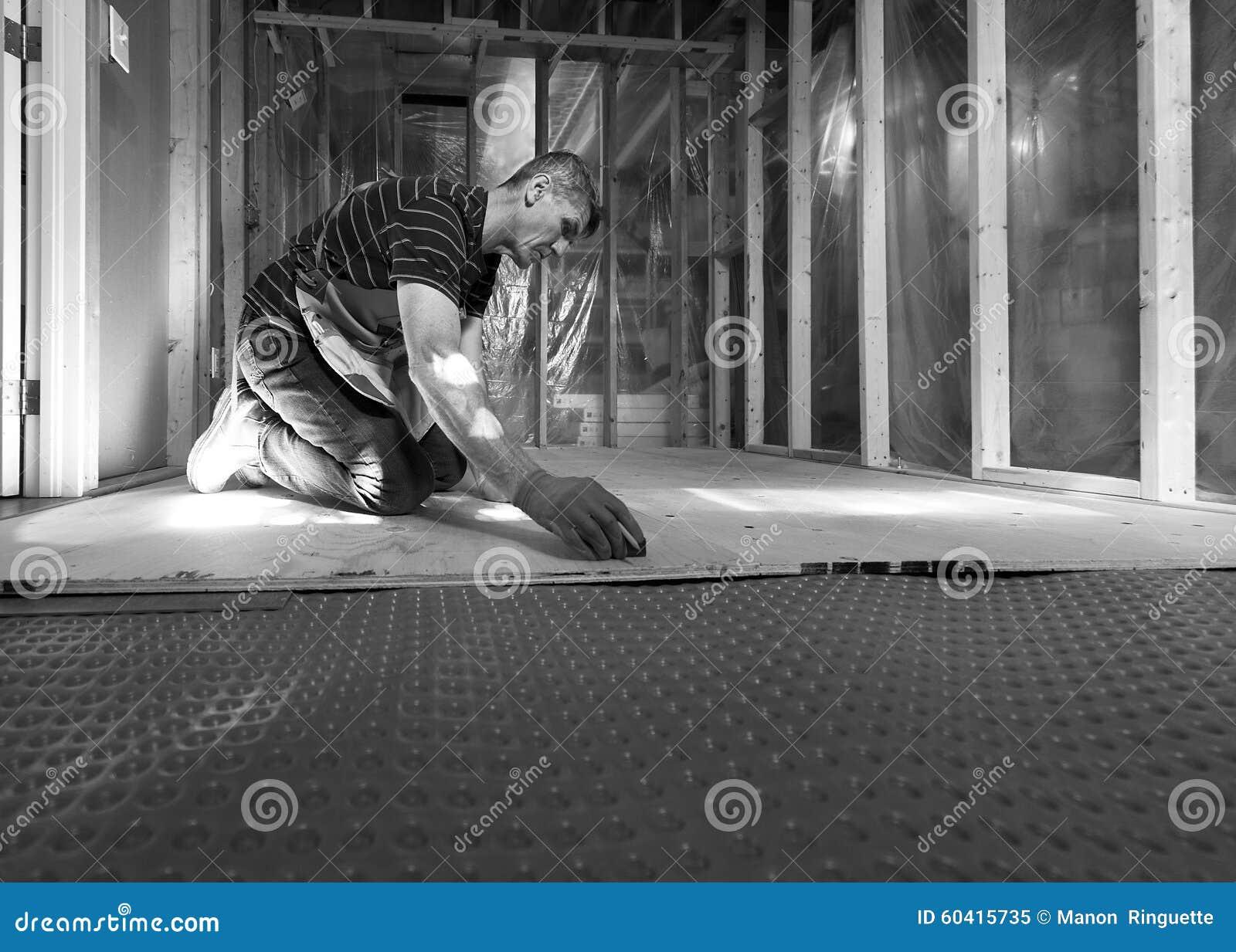 Basement Subfloor Installation Stock Image Image Of Measuring Basement 60415735