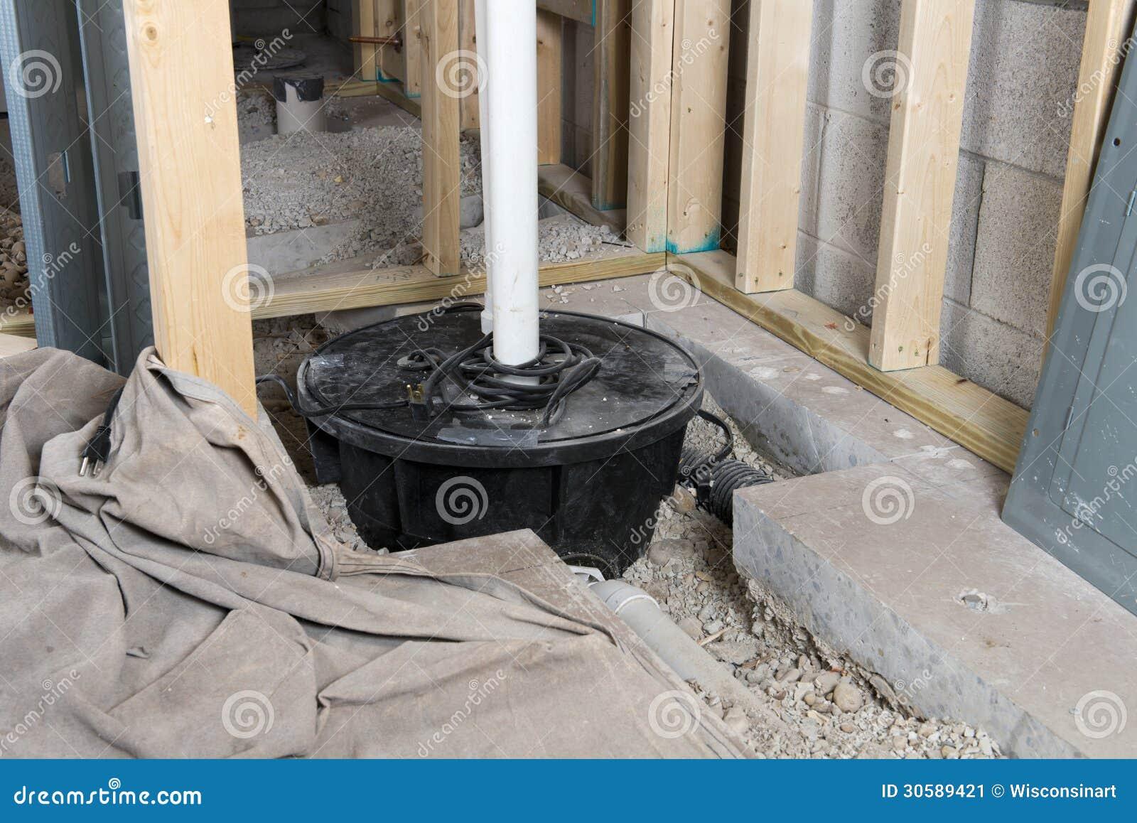 Basement Sump Pump Crock Home Improvement Stock Image