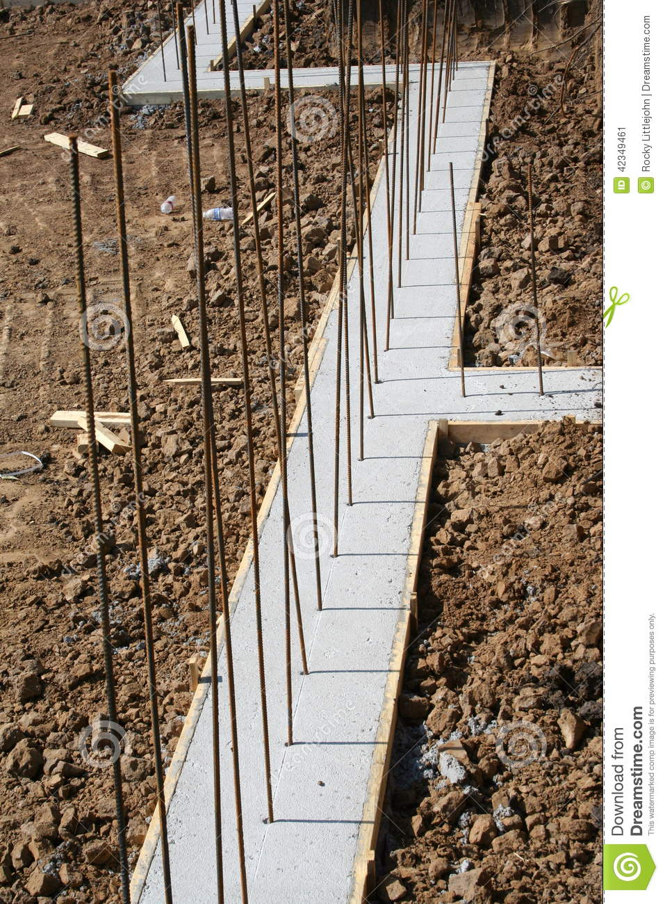 Basement wall footing with deadman stock image image of for Building a basement foundation