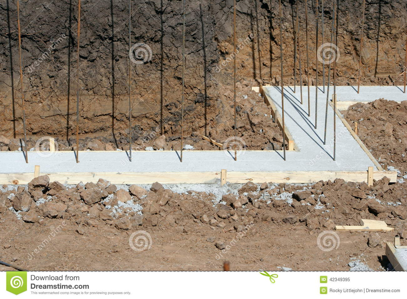 Basement wall footing stock image image of wood grade for Basement foundation construction