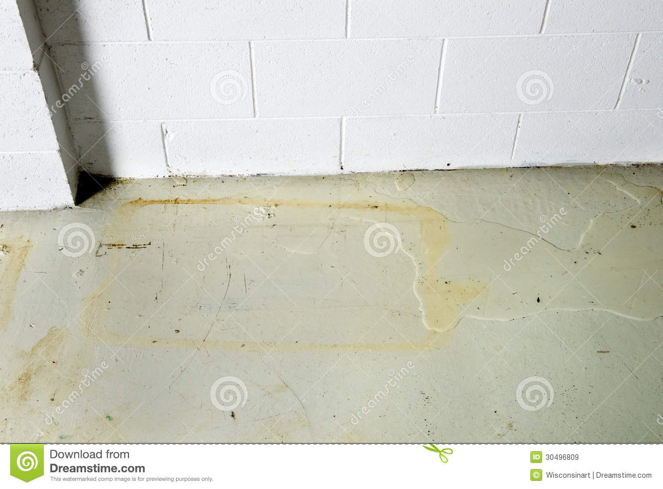 basement water seepage thru foundation seeping causing damage staining