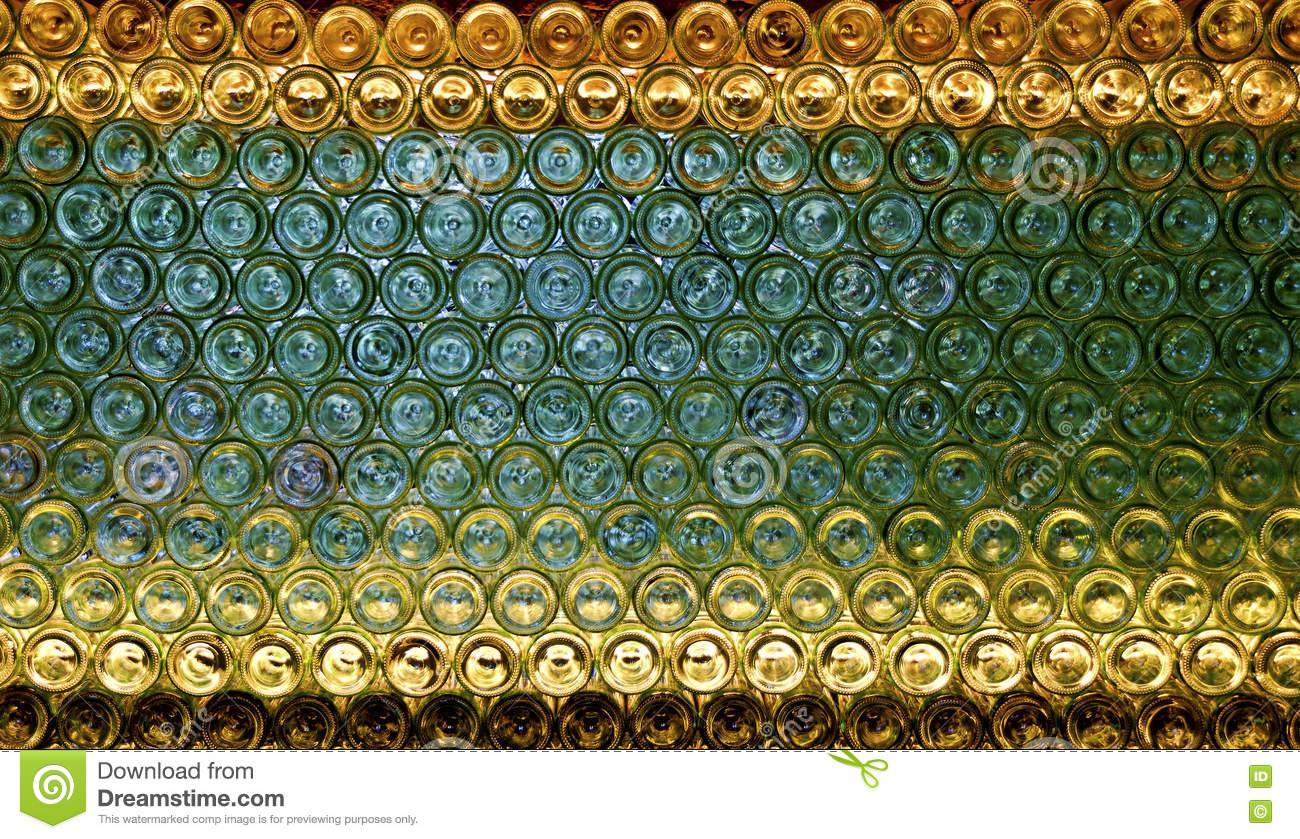 bases of wine bottles stock photo