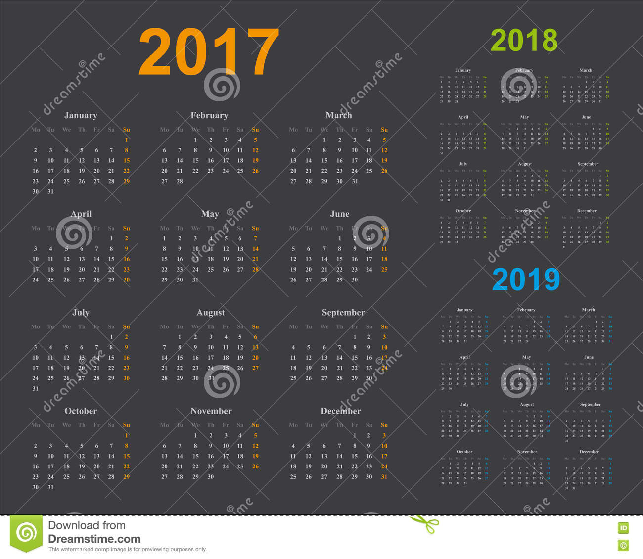Basic Calendar Template Years 2017 2018 2019 Gray Background