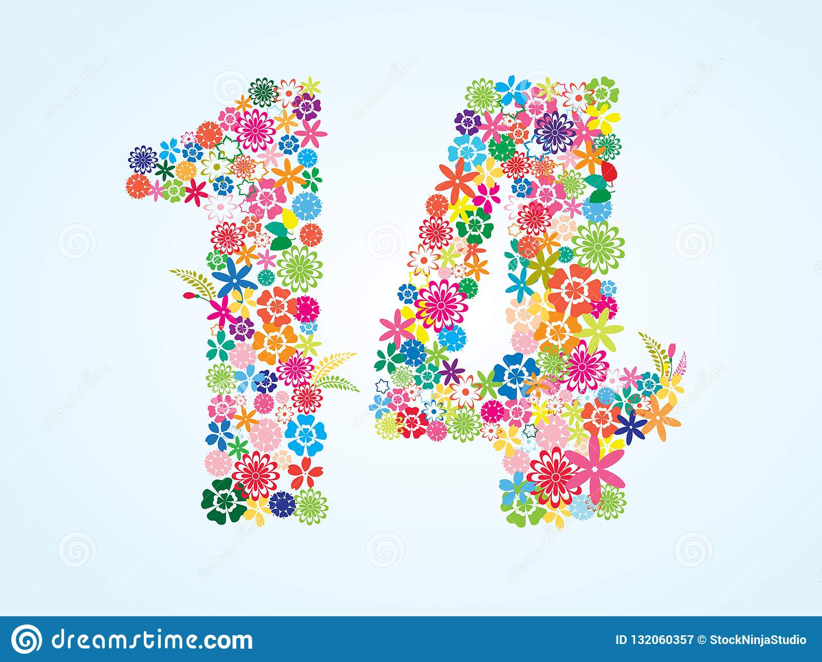 Vector Colorful Floral 14 Number Design isolated on white background. Floral Number Fourteen Typeface