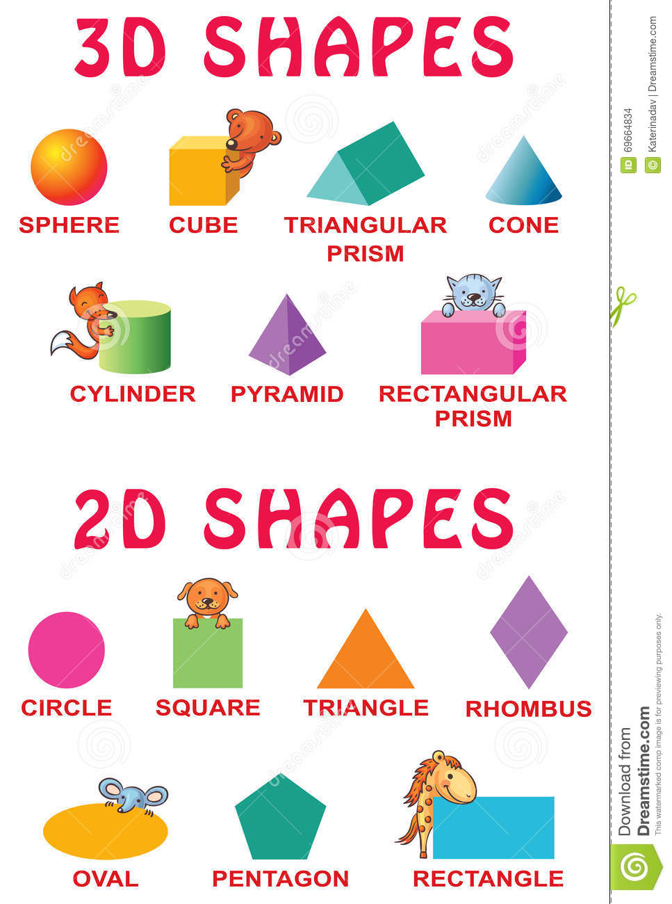 Image result for cartoon 3d and 2d shapes