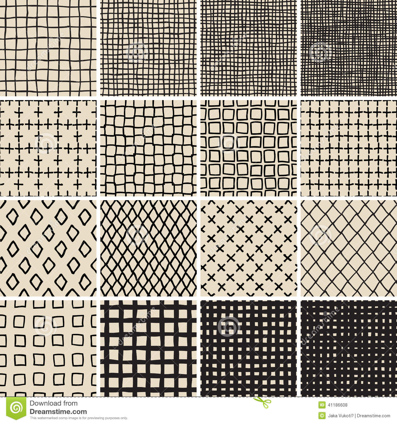 Basic doodle seamless pattern set no 7 in black and white for Basic doodle designs
