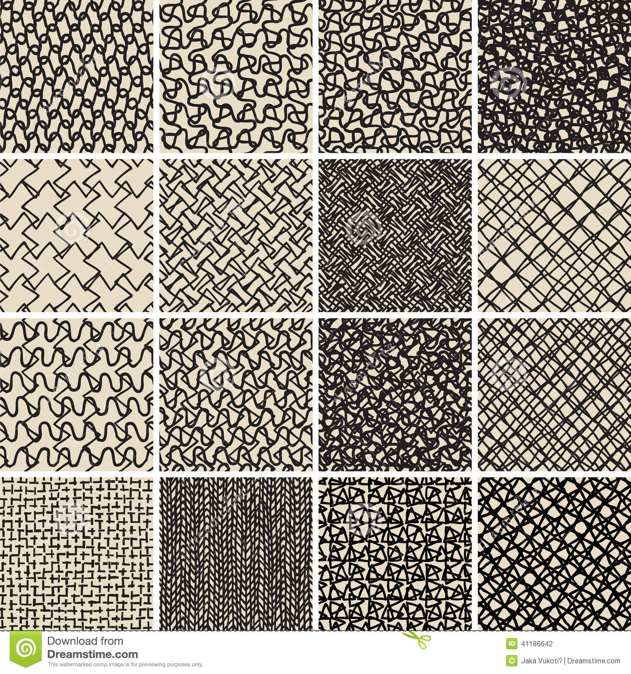 Basic doodle seamless pattern set no 8 in black and white for Basic doodle designs