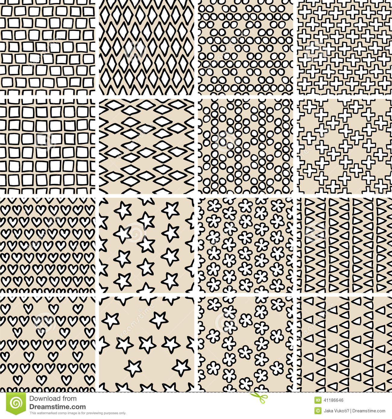 Basic Doodle Seamless Pattern Set No10 In Black And White Stock Vector Image 41186646