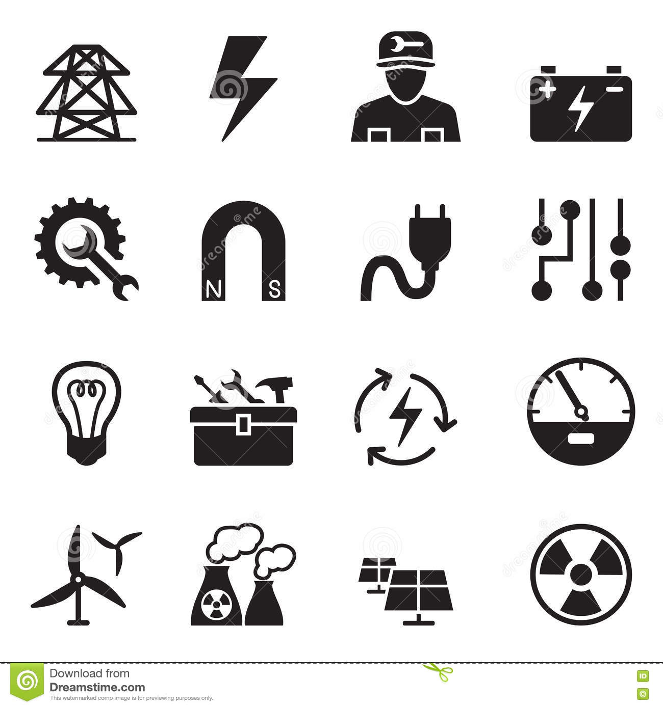 electrical repair electrician symbol icons set vector