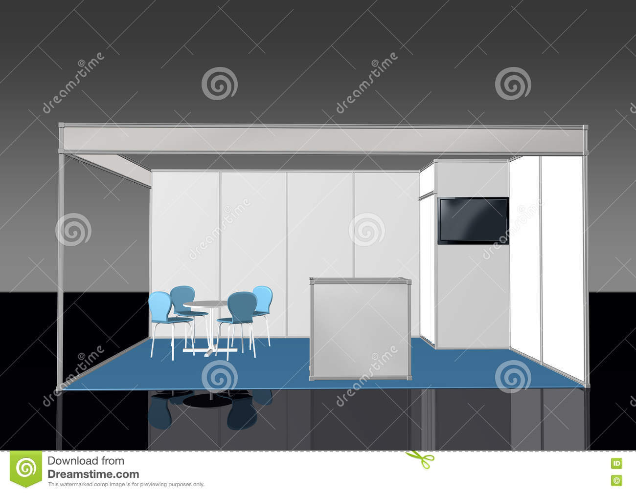 Exhibition Stand 3d Model Free : Basic exhibition stand booth d front view stock illustration