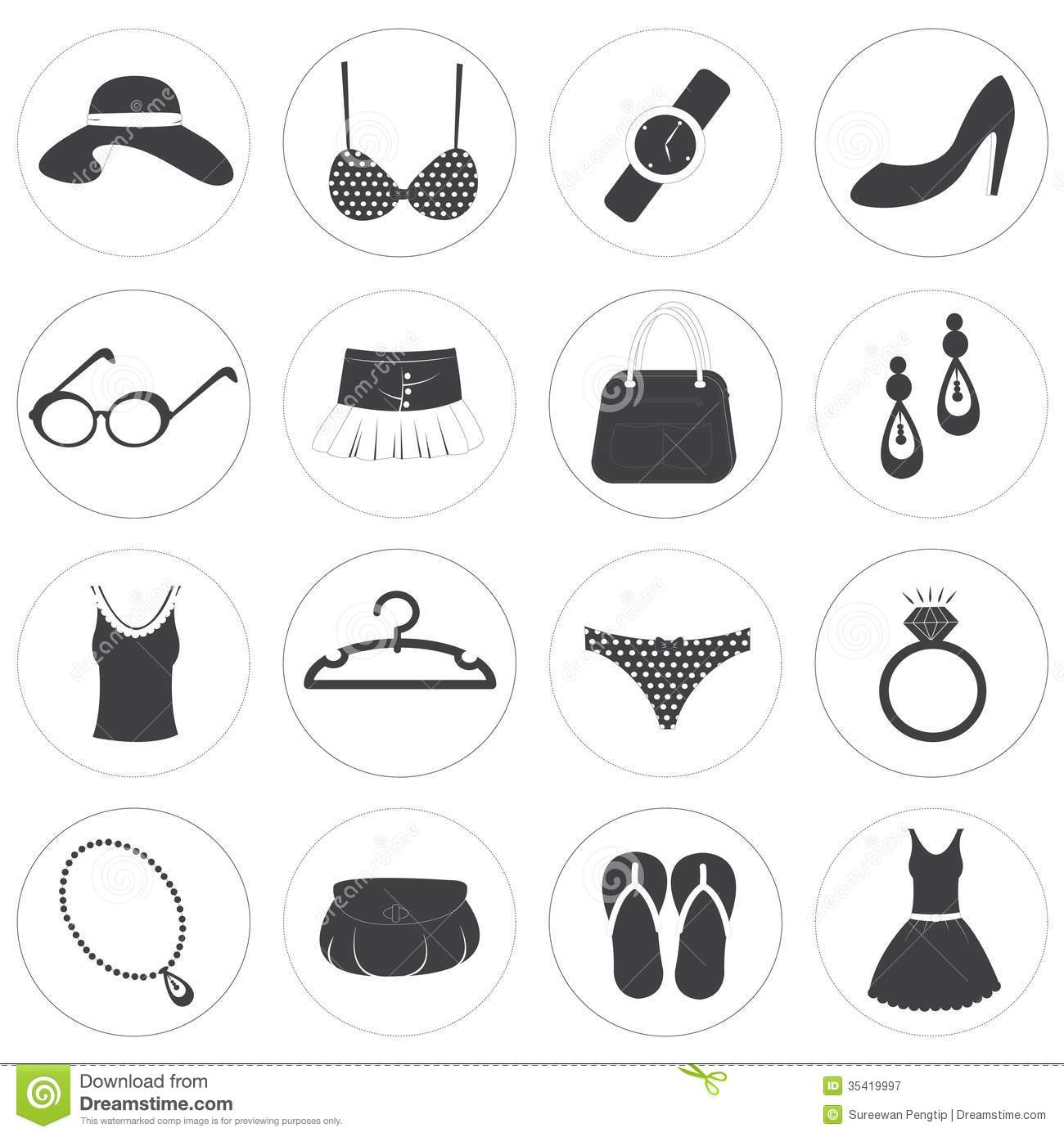 Basic Fashion Icons Vector Collection Stock Vector ...