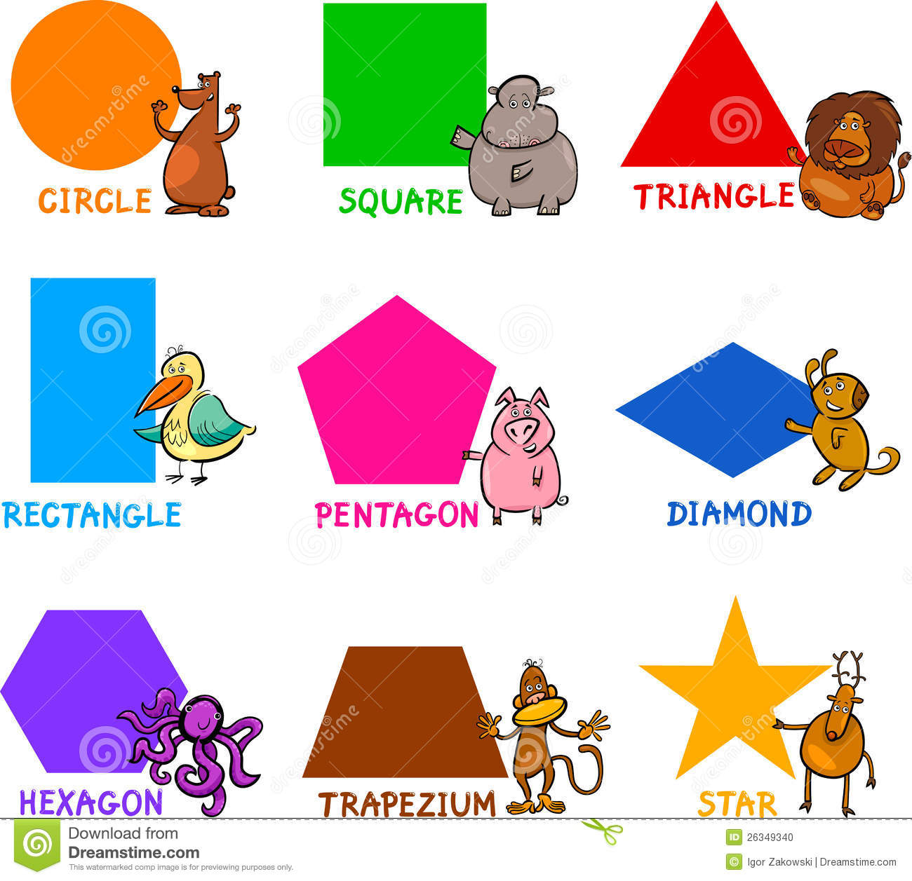 Basic Geometric Shapes With Cartoon Animals Stock Photo - Image ...