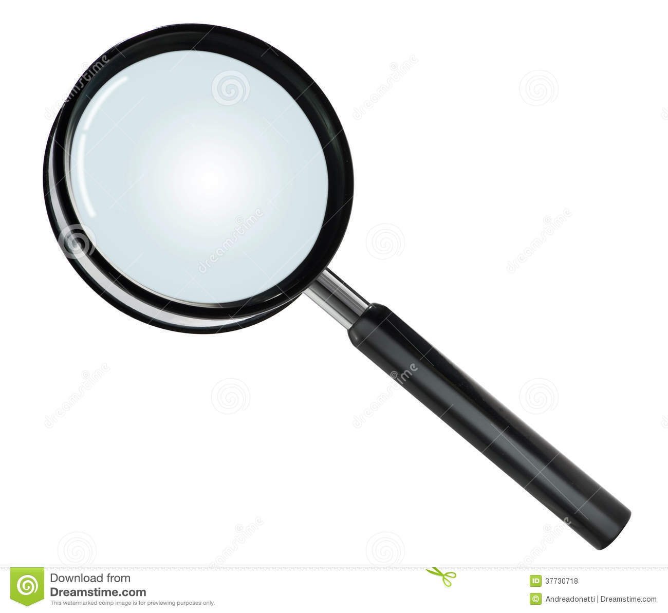 Close-up of a basic hand lens or magnifying glass with black plastic ...