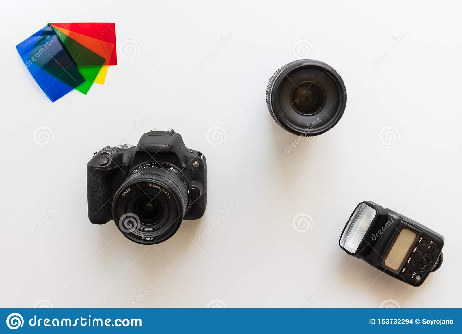 Basic photographic equipment, flash,lens, color gels