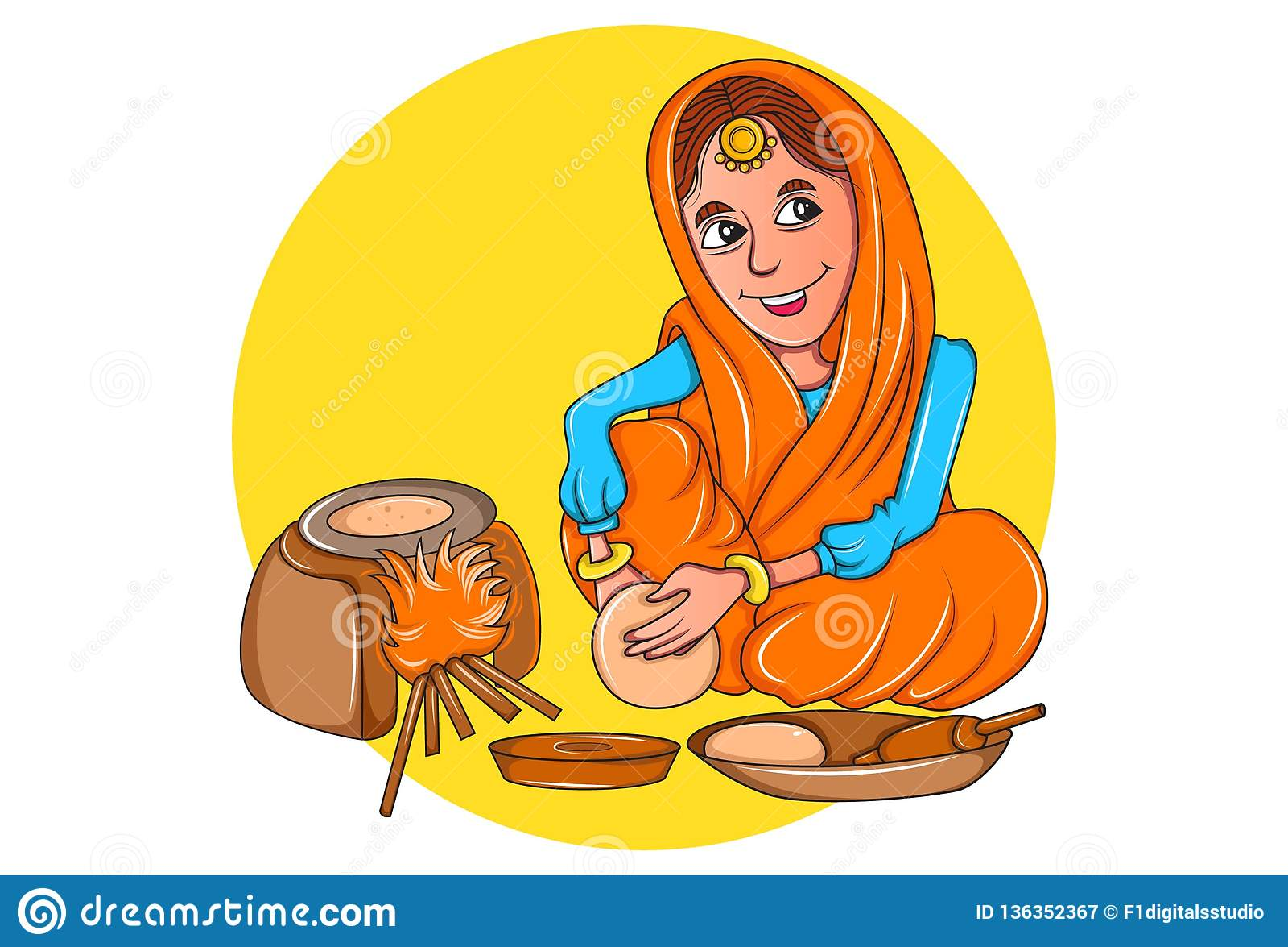Illustration Of Cartoon Punjabi Woman Stock Illustration Illustration Of Funny Character 136352367