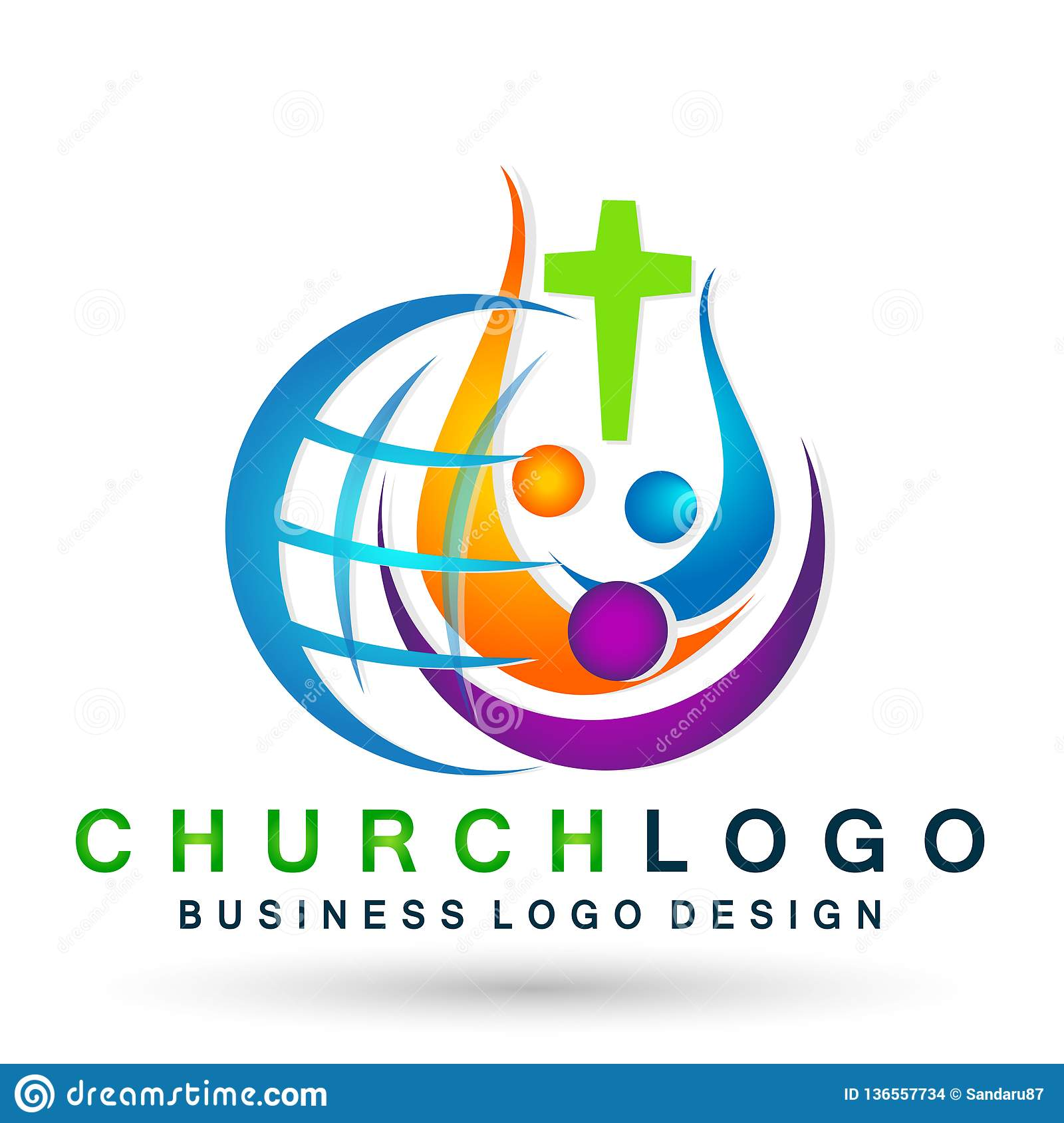 Globe world Church People union logo icon winning happiness love together team success wellness health symbol on white background