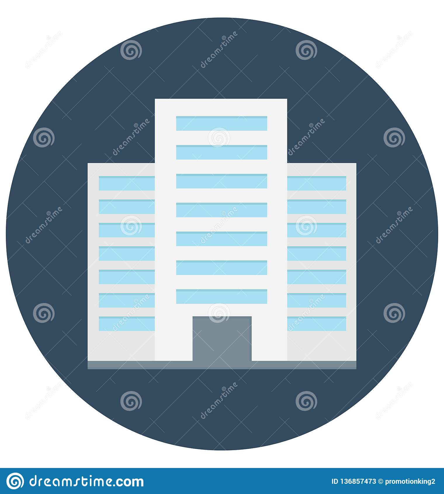 Commercial Building Color Vector icon which can be easily modified or edit