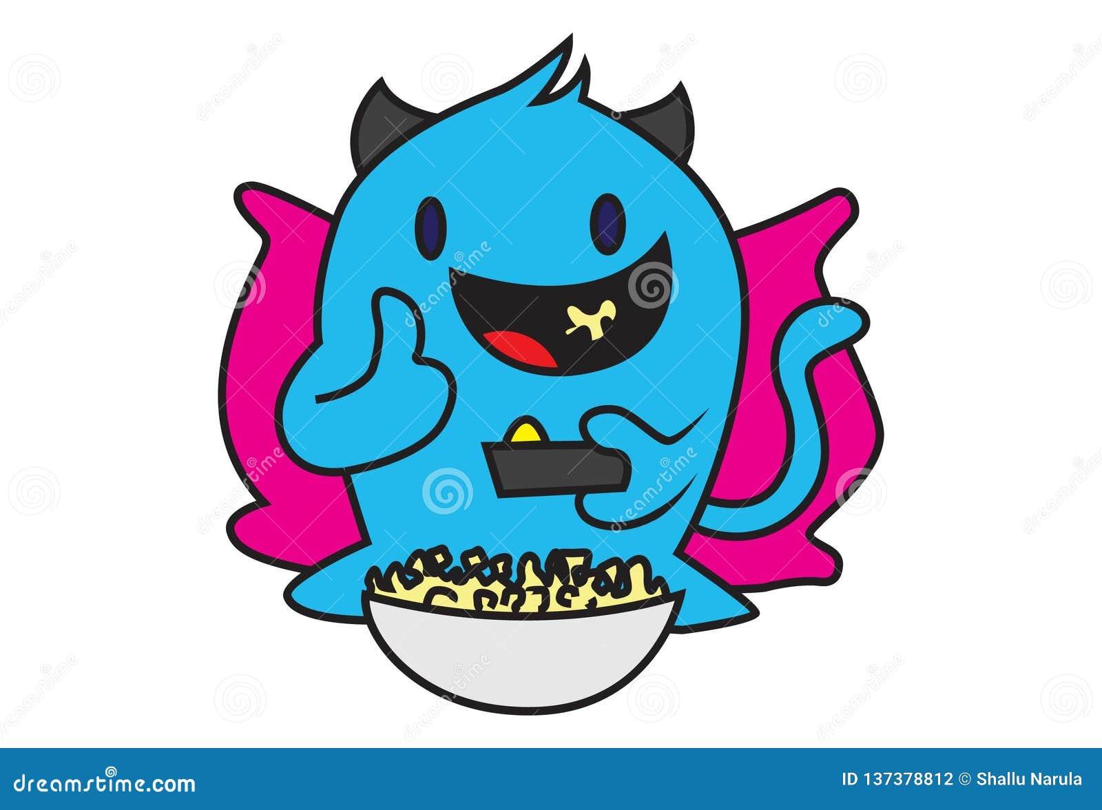 Cartoon Illustration Of Blue Monster