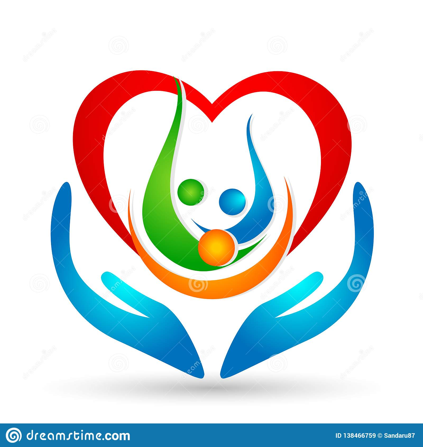 Family union,love and care in a red heart with hand and heart shape logo icon vector element on white background